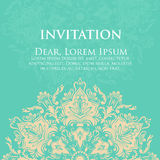 Wedding invitation and announcement card with ornament in Arabian style. Arabesque pattern. Eastern ethnic ornament Stock Images