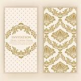 Wedding invitation and announcement card with vintage background artwork. Elegant ornate damask background. Stock Images
