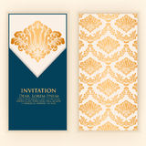 Wedding invitation and announcement card with vintage background artwork. Elegant ornate damask background. Stock Photography