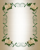 Wedding Invitation antique roses. Border design element for Valentine or elegant formal wedding invitation background, border or frame with antique White Roses Royalty Free Stock Photo