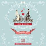 Wedding invitation.Ñartoon bride,groom,bicycle Royalty Free Stock Photo