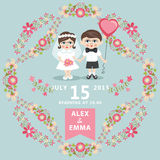 Wedding invitation with baby Bride,groom,floral  frame. Wedding invitation design template with baby couple.Cartoon baby Bride, groom ,floral  frame and ribbons Royalty Free Stock Photo