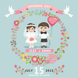 Wedding invitation with baby Bride,groom,floral wr Stock Photo