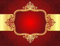 Wedding Invitation Background With Red Damask Patt Stock Image