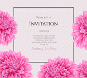 Wedding invitation with beautiful aster flower Stock Photos