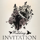Wedding invitation with beautiful couple bridal and bride  Royalty Free Stock Images