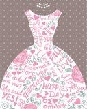 Wedding invitation with beautiful elegant wedding dress. Stock Photos