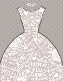 Wedding invitation with beautiful elegant wedding dress. Royalty Free Stock Image