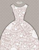 Wedding invitation with beautiful elegant wedding dress. Vector illustration Royalty Free Stock Image