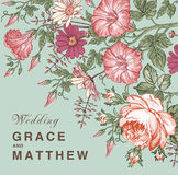 Wedding invitation. Beautiful flowers Petunia Chamomile Rose card. Frame, label. Vector victorian Illustration. Royalty Free Stock Image