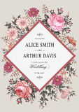 Wedding thanks invitation. Beautiful realistic flowers Chamomile Rose card. Frame, label. Vector victorian Illustration. Petunia Royalty Free Stock Images