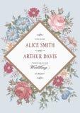Wedding thanks invitation. Beautiful realistic flowers Chamomile Rose card. Frame, label. Vector victorian Illustration. Petunia Stock Photography