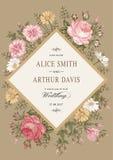Wedding thanks invitation. Beautiful realistic flowers Chamomile Rose card. Frame, label. Vector victorian Illustration. Petunia Stock Photos