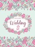 Wedding invitation. Beautiful wedding card with flower wreath. V stock illustration