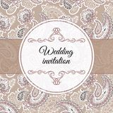 Wedding invitation in beige style Royalty Free Stock Images