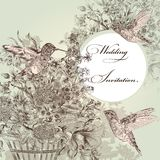 Wedding invitation with birds and flowers. Fashion vector background with detailed hand drawn flourishes and birds Stock Photos