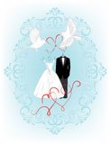 Wedding invitation with birds, hearts and dress the bride and groom Stock Images