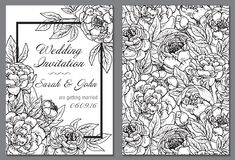 Wedding invitation with black and white peony flowers. Royalty Free Stock Photo