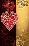Wedding invitation blank with ruby heart Stock Photo