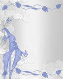 Wedding invitation Blue calla lily floral border Stock Images