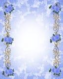 Wedding invitation Blue roses 3D Stock Photos