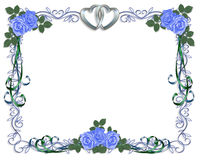 Wedding Invitation Blue roses Border Stock Image