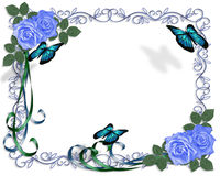 Wedding invitation Blue Roses Border. Image and illustration composition for card, border, stationery, invitation or background for wedding, anniversary royalty free illustration