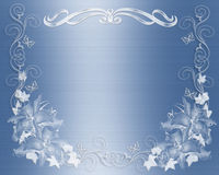 Wedding invitation blue satin floral Royalty Free Stock Images