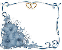 Wedding invitation border Blue Hibiscus Stock Photo