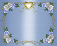 Wedding Invitation Border blue roses Stock Photo