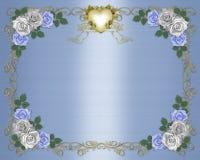Wedding Invitation Border blue roses. Illustration composition design element for Valentine, wedding, birthday, party, invitation border on satin background with stock illustration
