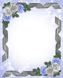 Wedding Invitation Border Blue roses  Stock Images