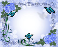 Wedding invitation Border Blue Roses. Image and illustration composition for card, border,  stationery, invitation or background for wedding, anniversary Royalty Free Stock Photo
