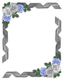 Wedding invitation Border Blue roses and ribbons Stock Image