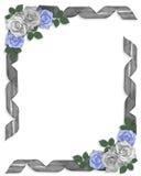 Wedding invitation Border Blue roses and ribbons vector illustration