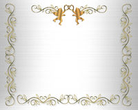 Wedding Invitation Border Gold Hearts Stock Photos