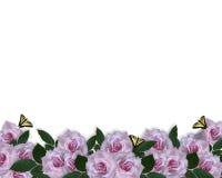 Wedding Invitation border Lavender Roses Stock Photography