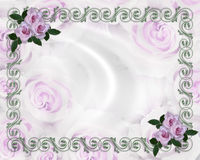 Wedding invitation Border Lavender roses Floral  Royalty Free Stock Photography
