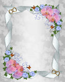 Wedding invitation border orchids stock photos