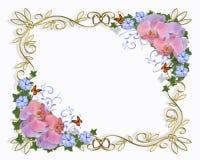 Wedding invitation border orchids royalty free stock image