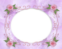 Wedding invitation border pink rose Stock Images