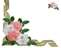Wedding invitation border pink roses Stock Photos