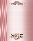 Wedding Invitation border Pink Satin Stock Images