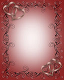 Wedding Invitation Border red. 3D Illustration for Wedding Invitation, Valentine or Background, border or ornamental frame with satin hearts and copy space Stock Images