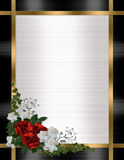 Wedding invitation border red roses Royalty Free Stock Images