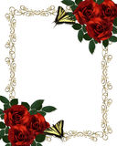 Wedding invitation Border Red Roses Butterflies vector illustration