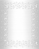 Wedding Invitation Border White Satin Stock Photography