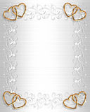Wedding Invitation Border White Satin Stock Images