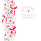 Wedding invitation with bouquets and red bows vector design Royalty Free Stock Images