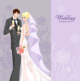 Wedding invitation with bride Royalty Free Stock Images